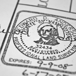 Building the Maxon House: Week 15 - Photo 6 of 7 - The official stamp of our surveyor, Mead Gilman Associates. Nothing is official until its signed, stamped, sealed and delivered.