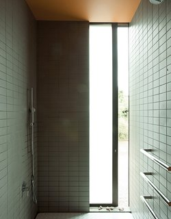 The shower provides a glimpse of the outdoors.