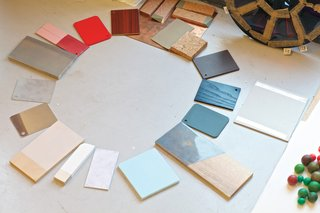 Dutch Designer Focus: Hella Jongerius - Photo 6 of 31 - A chromatic composition in progress includes an array of cards from the color system she devised for Vitra, ceramic samples, and other more obscure items.
