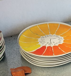 Dutch Designer Focus: Hella Jongerius - Photo 4 of 31 - Evidence of color experiments populate Jongerius's studio, including this one, a study of yellows and oranges on ceramic.
