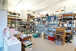 Dutch Designer Focus: Hella Jongerius - Photo 10 of 31 - Although Jongerius insists she had a major clear-out before leaving Rotterdam, her studio in Berlin is as packed as ever. Note the Ikea PS Jonsberg vases on the top row of shelves, each made using a different ceramic technique, with ornamentation inspired by different parts of the world.