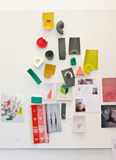 A bulletin board in Jongerius's studio reveals works in progress, experiments, and snippets of inspiration.