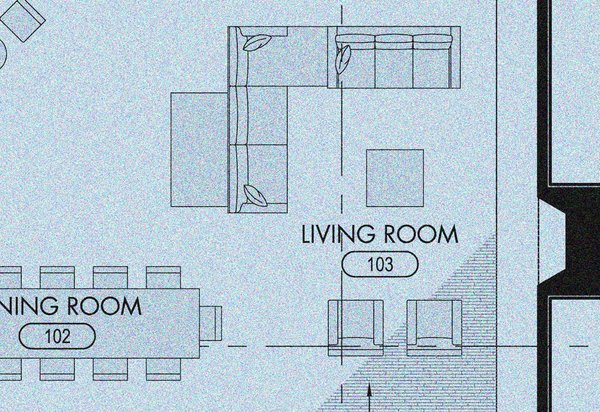 A schematic of the proposed living space showcases the dining room table extending into the open floor plan of the living room.