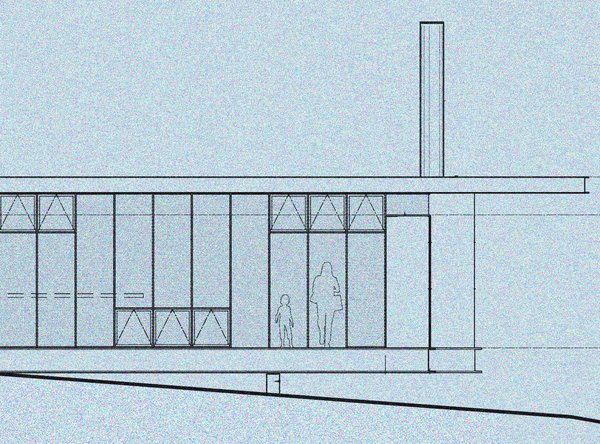 An exterior elevation view of the proposed cantilever section of Maxon House. Here you can see the mix of different window options. The exterior will feature steel rainscreen panels that will weather and oxide to various patinas over time, becoming almost bark-like to mirror the texture of the forest that surrounds the house.