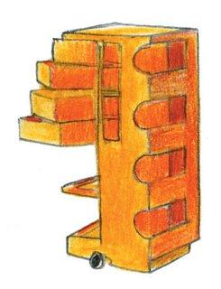 1970<br><br>0Joe Colombo designs Boby Storage Trolly.