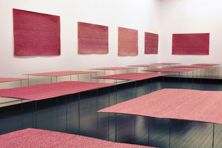 A room of drawings of Sasaki's own pulse includes hundreds of thousands of heartbeats.