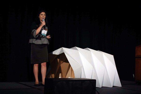 Tina Hovsepian explains her Cardborigami prototype.