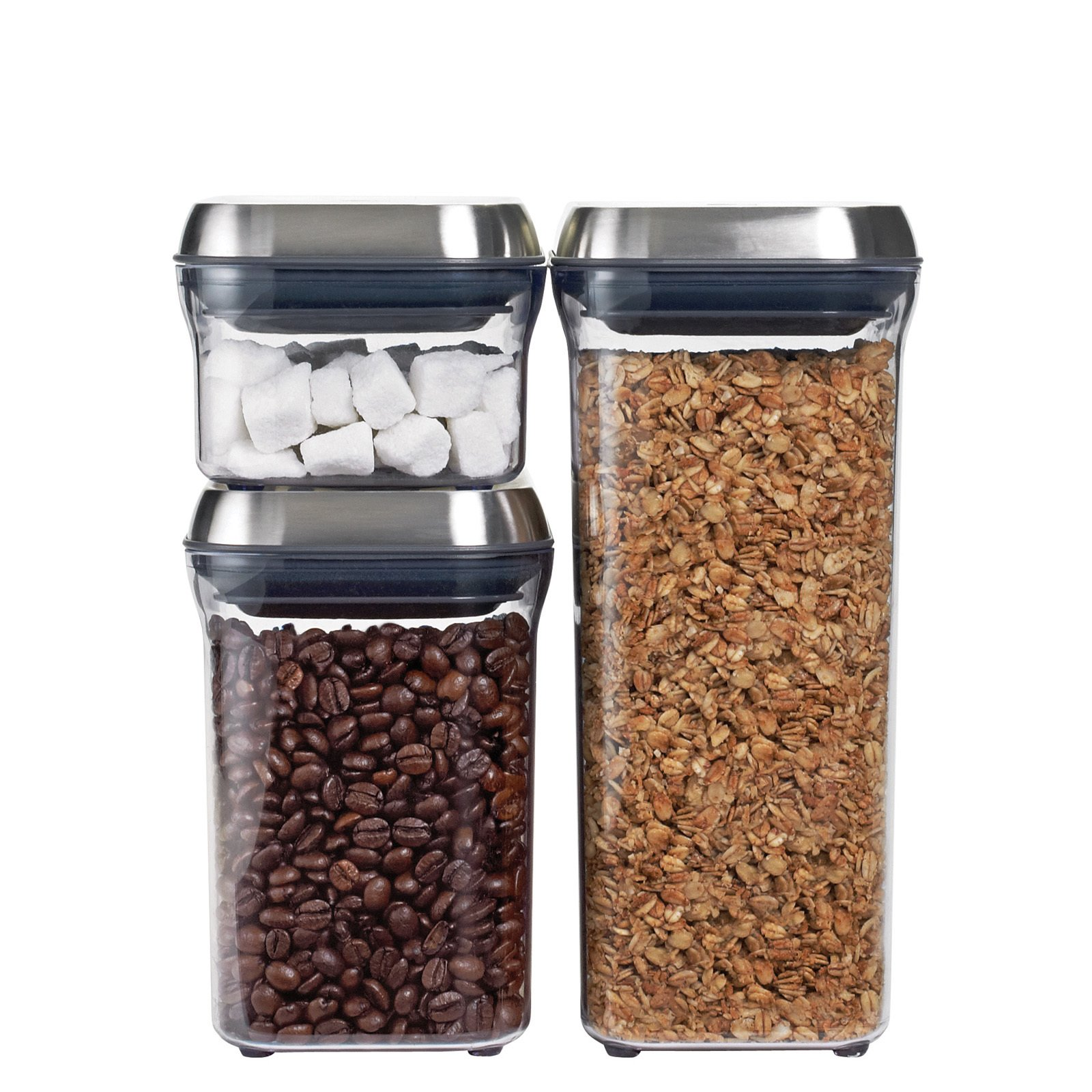 We long loved the POP containers from OXO. With one push they open and with another they create an airtight seal. Come October, the containers will be available with this new stainless steel lid finish.  New from OXO by Miyoko Ohtake