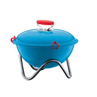 Products for the Fourth of July - Photo 3 of 3 - The Fyrkat Charcoal Picnic Grill by Bodum in red, steel, and blue.