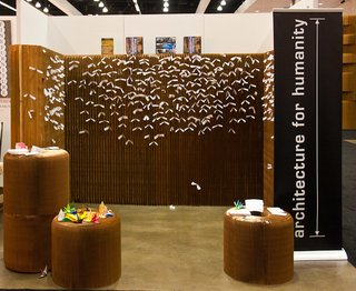 Best DOD Shots - Photo 3 of 3 - This photo, by Barry Schwartz, is of Architecture for Humanity's booth at Dwell on Design. The wall is by Molo and the tiny white slips of paper are wishes affixed thereto.
