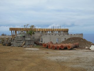 Easter Island's Visitor's Center - Photo 1 of 6 - Here's a view of the Visitor Center under construction, in October 2010. You can see the shell of the original warden's station. Photo by Eduardo Villafrana/World Monuments Fund.