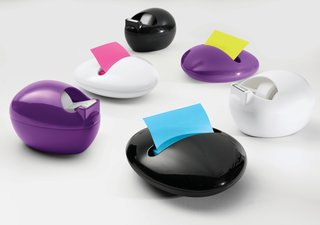 Karim Rashid's Pebble Collection - Photo 1 of 3 - The full range of 3M's Pebble Collection by Karim: the Post-It Dispenser and Scotch Dispenser each in white, black, and purple.
