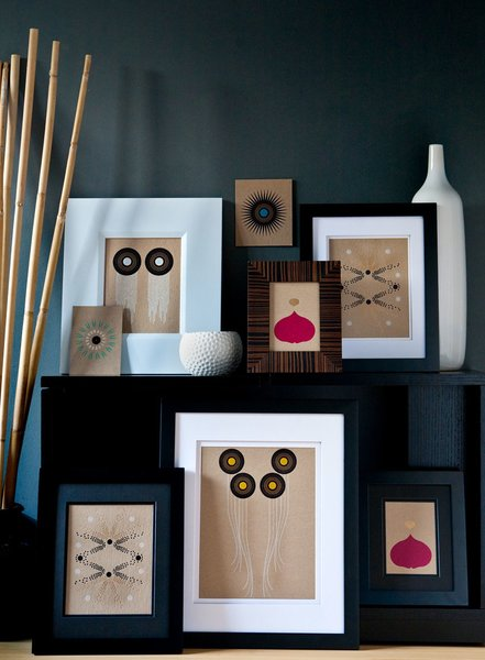 A display of the full suite of wall art, printed on natural chipboard.
