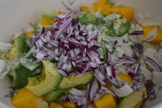 Avocado, Mango & Fennel Salad - Photo 1 of 2 - Chopped vegetables for Avocado, Mango, and Fennel Salad. Photo courtesy amyskitchentable.com.