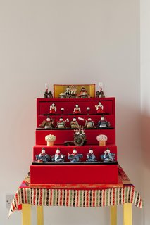 This collection of Japanese dolls adds a splash of color to the serene tatami room.