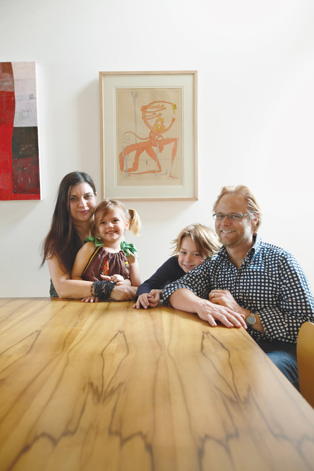 Wilkin and Pini, together with their children Ava and Tom, sit at a dining table made from black heart sassafras, an Australian wood.  Photo 6 of 8 in Almost Perfect