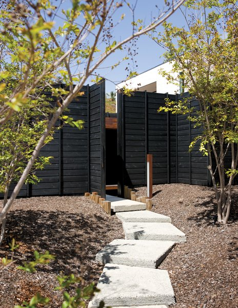 "A gently winding set of exposed aggregate concrete pads leads to the Wabi House's front door. Mariscal sought to ""hide the house behind a dense forest front yard."" As the crape myrtles grow in, they will further filter the home's facade."