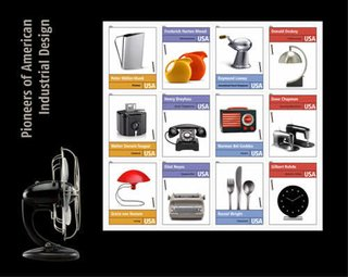 A selection of stamps commemorating the Pioneers of American Industrial Design.