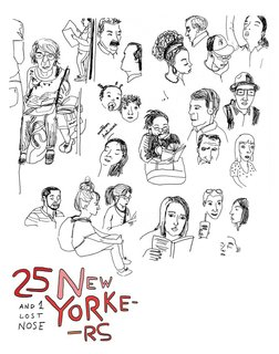 An illustration of 25 New Yorkers by Maria (Walnut) Nogueira.