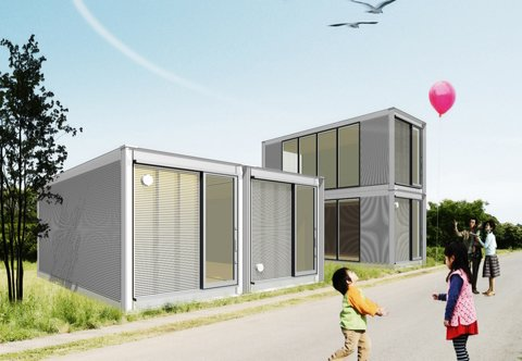 """The term """"resourcefulness"""" may define just what Ex-Container aims to provide for families in need: this project takes structures from ISO shipping containers and restructures them into stackable houses."""
