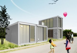 "Japan Relief: Designs to Inspire - Photo 4 of 4 - The term ""resourcefulness"" may define just what Ex-Container aims to provide for families in need: this project takes structures from ISO shipping containers and restructures them into stackable houses."