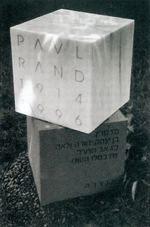 A gravestone for designer Paul Rand as seen on Commune Design.