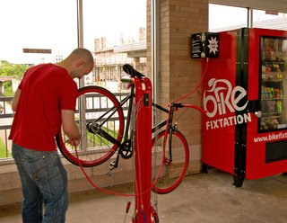 Bike Fixtation's first setup is located at the Uptown Transit Station in Minneapolis, with a second location proposed for outside the city's Wedge Community Co-Op.