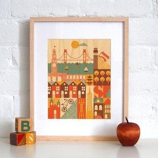 San Francisco print on maple veneer, $15.