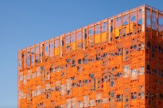 Gerald Parsonson's Favorite Buildings - Photo 1 of 8 - The orange facade of the Jakob + MacFarlane-designed Orange Cube in Lyon, France.