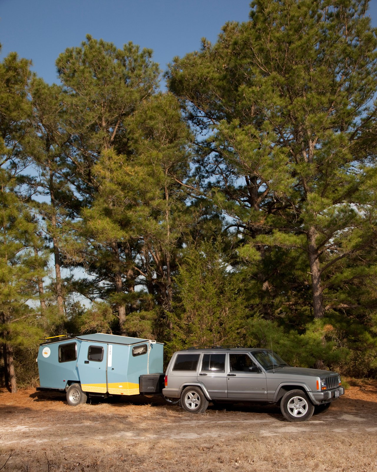 """The Cricket was easy to move throughout the 9E Ranch property. Finney designed the camper so that a car as small as a Subaru Outback can haul it around. """"The hope is that you already own your towing vehicle,"""" he says.  Photo 14 of 15 in Modern NASA-Inspired Cricket Trailer"""