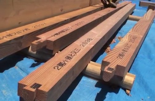 Ohtsuki and Townsend's timber arrives at the site precut with traditional Japanese joinery ends and labeled as to where each piece fits in the puzzle.