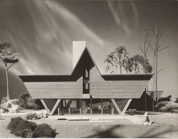 Dow's idea for his W-Frame house exists in model form (here) at the Down Home and Studio and a variant of the structure was built as the Mills Summer Home.