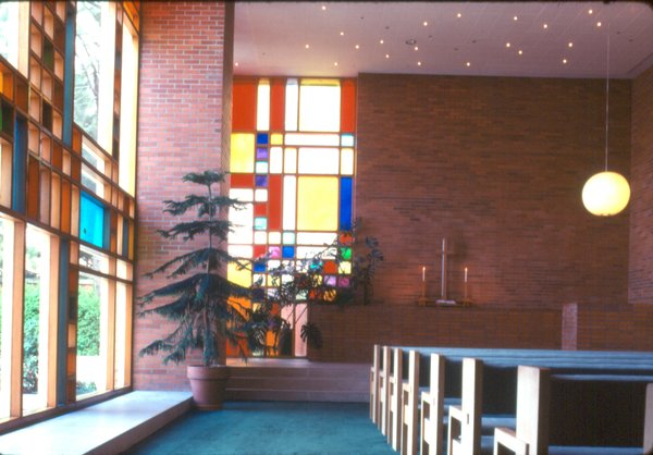 Blocks of color in the stained glass windows and decidedly more sober brick are the dominant materials of the main sanctuary of Midland's First Methodist Church.