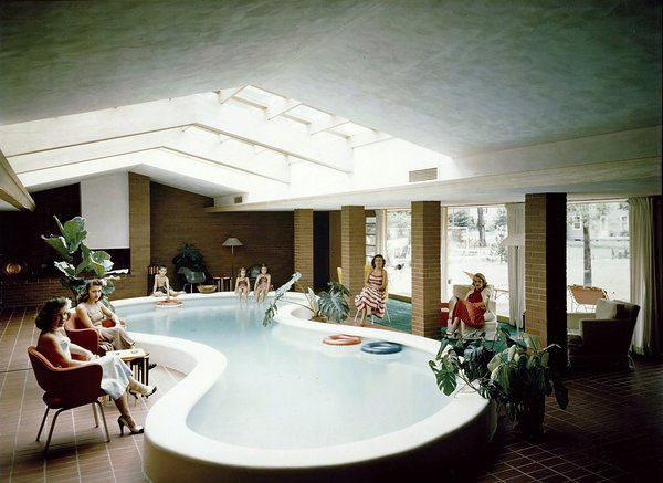 If there's a groovier picture of mid-century modernism I don't know it. This is the living room/indoor pool of the Defoe House Dow designed in Bay City, Michigan in 1941.