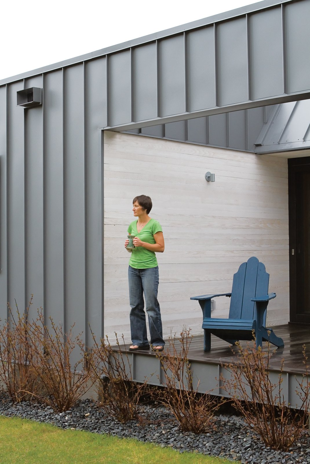 """Hands OffArchitect Steve Bull aimed to create a home for Leinicke and Navitsky that was virtually maintenance-free. To that end, the exterior is standing-seam metal siding that will never need to be painted; the cedar walls are finished with an eco-friendly Osmo semisolid stain rather than paint; and the floors are end-grain fir, a recycled by-product of door manufacturing that """"is so tough it will outlast most buildings,"""" says Bull.  custombiltmetals.com  osmona.com  oregonlumber.com An Epic Plot - Photo 7 of 10"""