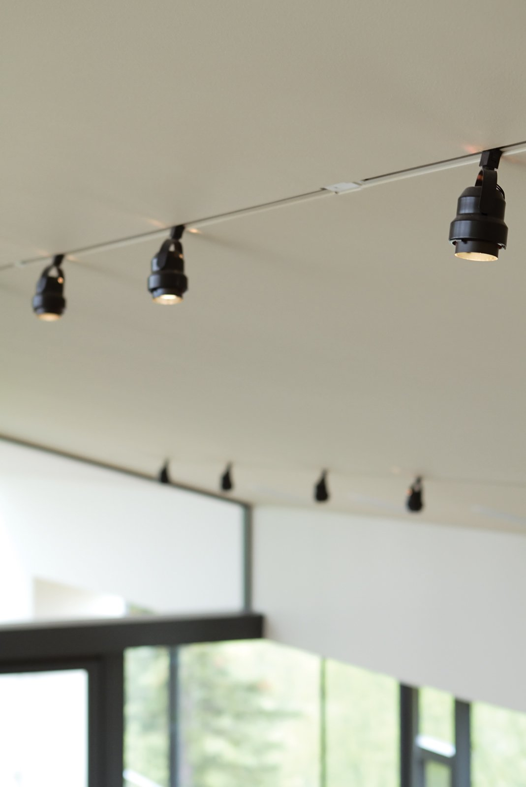 """Back on TrackIn cold places, recessed lighting in a vaulted ceiling can lead to water vapor problems in the roof. So Bull inset standard surface-mounted Juno track lights into a notch. """"With a flush track the common track light looks much more sophisticated,"""" he observes.  junolightinggroup.com  Photo 9 of 10 in An Epic Plot"""