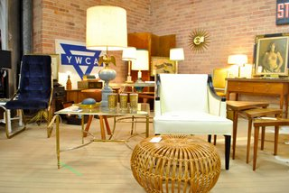More Finds from The Vintage Bazaar - Photo 1 of 10 - STUDY always brings a covetable collection to TVB. Co-owners John Tyler and Andrew Schultz moonlight as home stylists and Schultz recently launched his own styling business, Houndstooth Design & Vintage. The Albini ottoman in the foreground was snatched up minutes after the flea opened. <br><br>Photo by <br><br>John Tyler