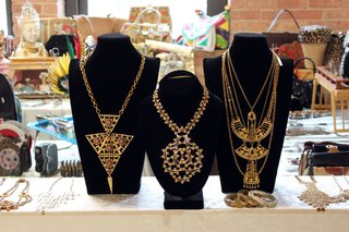 Statement necklaces like these elaborate examples from seller Shop NOV (Adrienne Baskin) were a big seller at the May TVB. <br><br>Photo by <br><br>Felix Jung