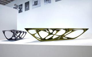 Remembering Zaha Hadid - Photo 9 of 9 - Mesa Table, 2007. Polyurethane base, fiberglass top, metallic paint finish. 27 9/16 x 64 15/16 x 159 7/16 in. Midnight blue. Made by Vitra GmbH, Basel, Switzerland. Photography courtesy of Eduardo Perez.