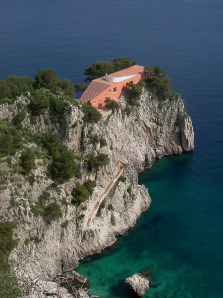 Casa Malaparte is perched on the cliffs of Capri and was designed by Adalberto Libera in 1938.