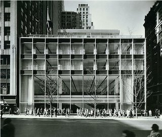 Friday Finds 10.07.11 - Photo 1 of 11 - The Manufacturers Hanover Trust Building (shown here in 1954) is located at 43rd Street and Fifth Ave. in New York City. The open steel-and-glass facade is considered a model of Modernist design.