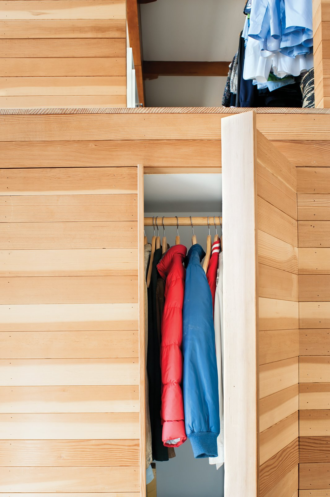 The wooden box features hidden storage. Tagged: Storage Room and Closet Storage Type.  Photo 5 of 19 in Storage Savvy Renovation in Emeryville