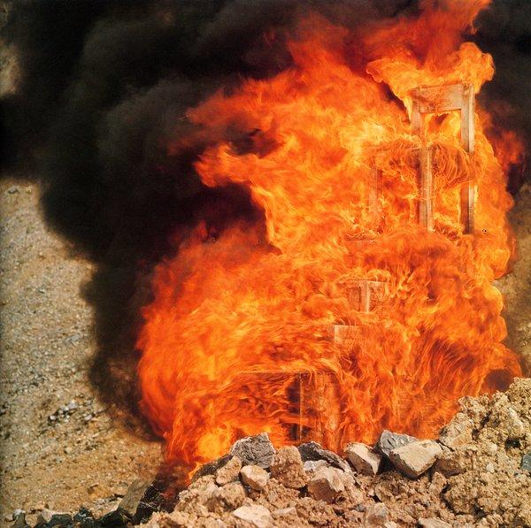 Alessandro Mendini, destruction of Lassù chair, 1974. © Atelier Mendini/ Image courtesy CSAC-Universita' di Parma