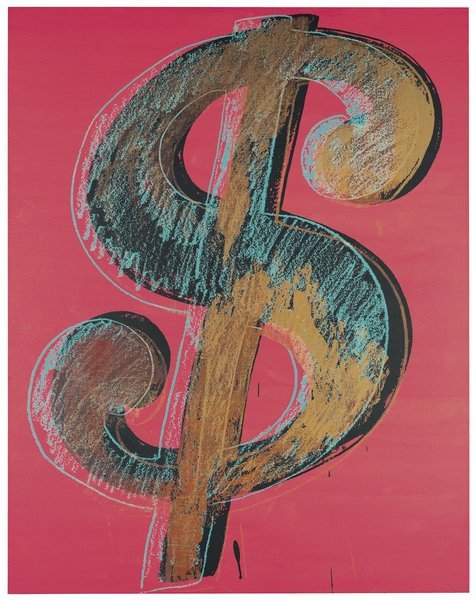 Dollar Sign, Andy Warhol, 1981. Synthetic polymer paints and silk-screen inks on canvas. Private collection. Photograph Christie's Images 2011 © The Andy Warhol Foundation for the Visual Arts / Artists Rights Society (ARS), New York / DACS, London 2011