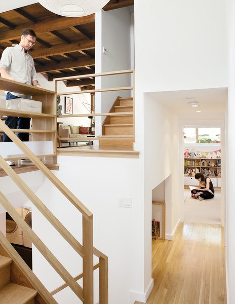 "Architect Christi Azevedo, along with homeowners Lorena Siminovich and Esteban Kerner, transformed this 1,485-square-foot, multilevel, mid-century maze into a modern and efficient family home in just three months. ""It was the craziest frickin' thing,"" laughs Azevedo. ""It was like a Tetris game, putting it all together, trying to squeak out space wherever we could."" Purchased as if straight out of 1955, the home is now the ideal small space for Siminovich and Kerner to raise their young daughter, Matilda."