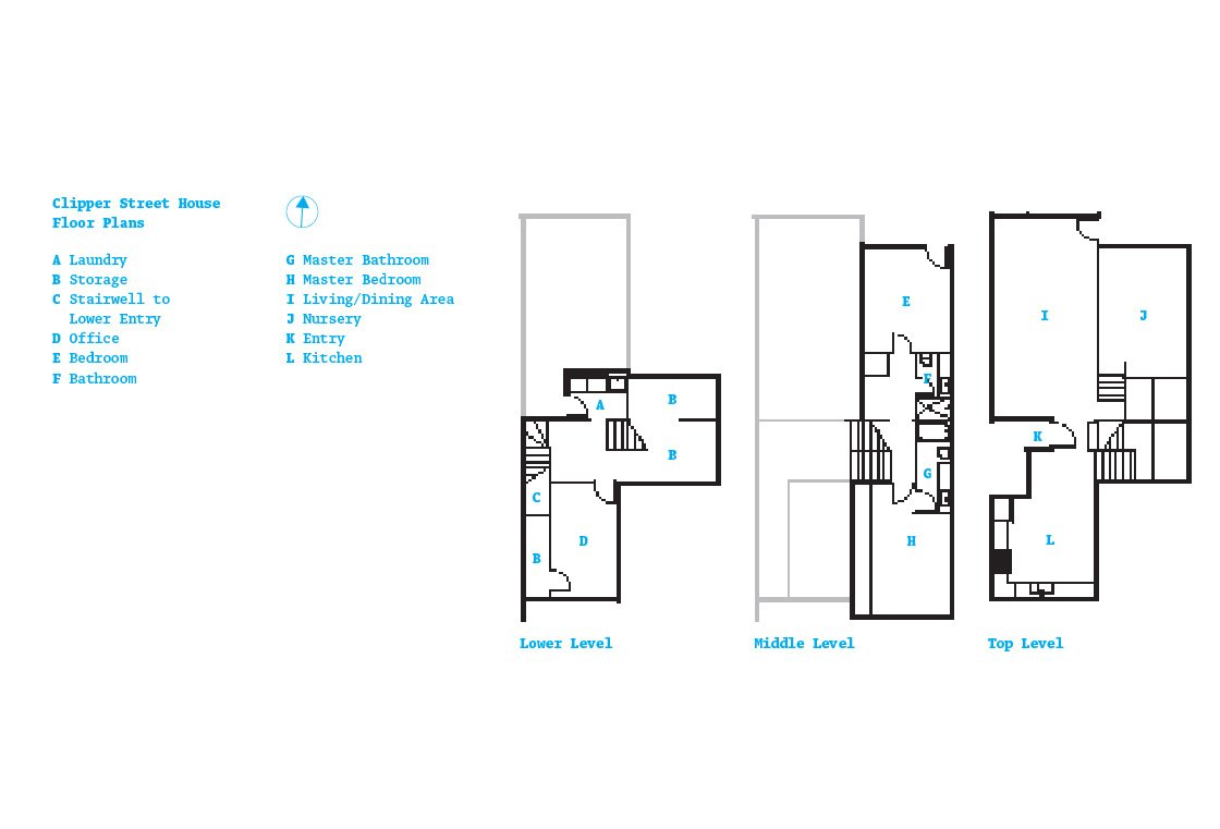 The Clipper Street home's plan.  Don't miss a word of Dwell! Download our  FREE app from iTunes, friend us on Facebook, or follow us on Twitter!
