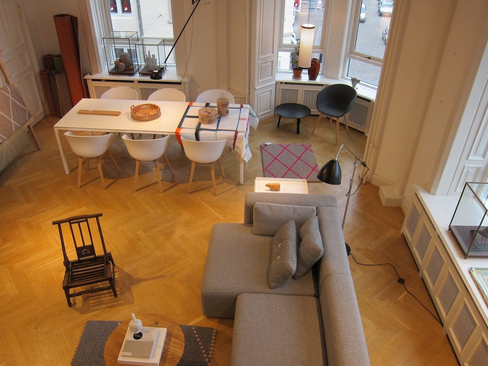 A broader view of the main floor, captured from the staircase.  A Visit to HAY Copenhagen by Jaime Gillin