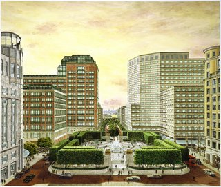 "Though some of Diniz's output had a kind of flat, highly graphic feel, he was unquestionably a master of perspective and could work in various visual modes. His renderings for the massive Canary Wharf development in London shows a clean, realist style.<br><br>""CAD systems can create and manipulate visual imagery so much faster than the pen... Canary Wharf would have taken months of painful labor to accomplish in the old days of pen and ink. Now you can set up the drawings and alter them at the touch of a button."" —Carlos Diniz, from a 1988 Los Angeles Times interview"