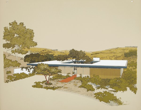 Diniz's 1961 renderings of the Monarch Bay Homes designed by Ladd and Kelsey Architects offer a bucolic vision of mid-century living.