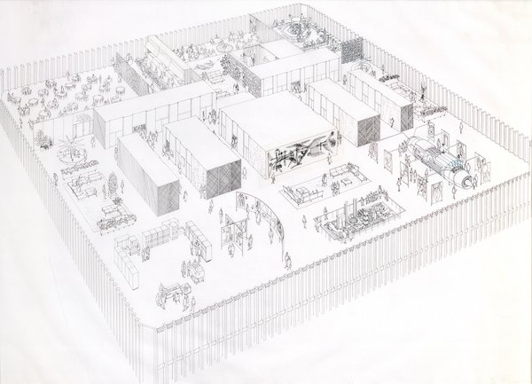 Here's a view of what a floor of Minoru Yamasaki's World Trade Center would look like from 1964.